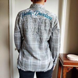 Harley Davidson Embroidered Plaid Pearl Snap Shirt